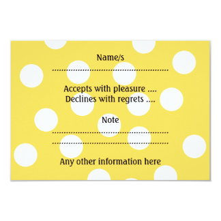 Yellow and White Big Dot Pattern. 3.5x5 Paper Invitation Card