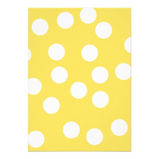 Yellow and White Big Dot Pattern. Invitation