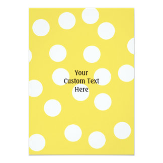 Yellow and White Big Dot Pattern. 5x7 Paper Invitation Card