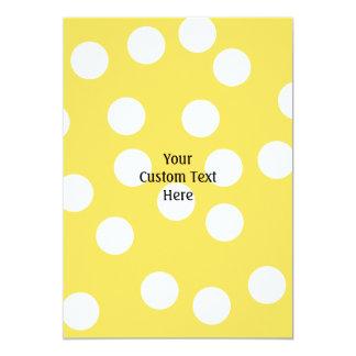 Yellow and White Big Dot Pattern. 5x7 Paper Invitation Card