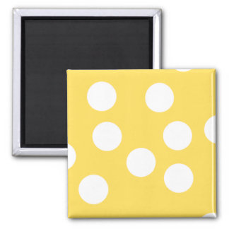 Yellow and White Big Dot Pattern. Square Magnet