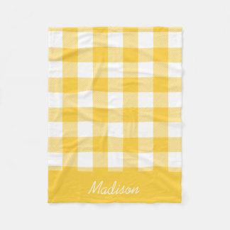 Yellow and White Buffalo Check Monogram Fleece Blanket