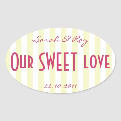 Yellow and white Candy stripe love sticker