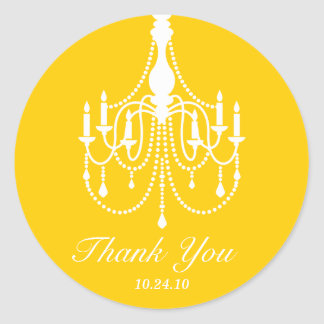 Yellow and White Chandelier Thank You Round Sticker