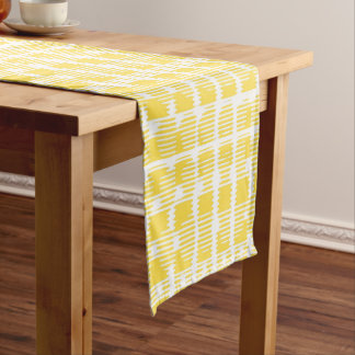 Yellow and White Check Table Runner
