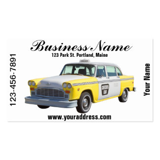 Yellow and White Checkered Taxi Cab Business Cards