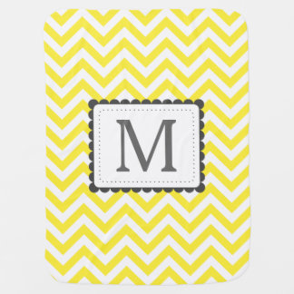 Yellow And White Chevron Custom Monogram Baby Blanket