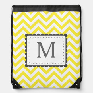 Yellow And White Chevron Custom Monogram Drawstring Bag