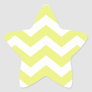 Yellow And White Chevron Stripes Star Sticker