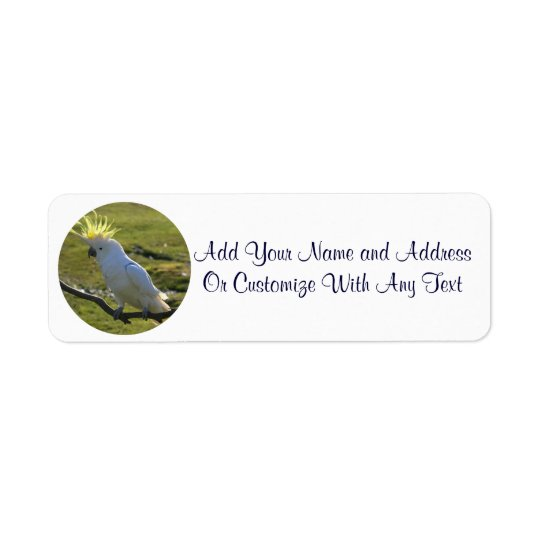 Yellow and White Cockatoo Parrot Return Address Label