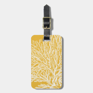 Yellow and White Coral Luggage Tag