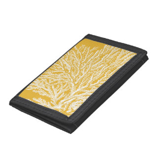 Yellow and White Coral Tri-fold Wallets
