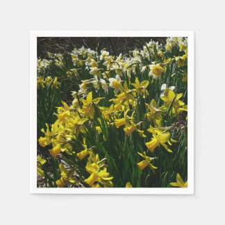 Yellow and White Daffodils Spring Flowers Disposable Napkin