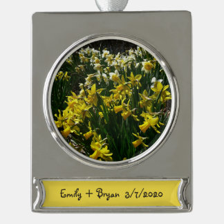 Yellow and White Daffodils Spring Flowers Silver Plated Banner Ornament