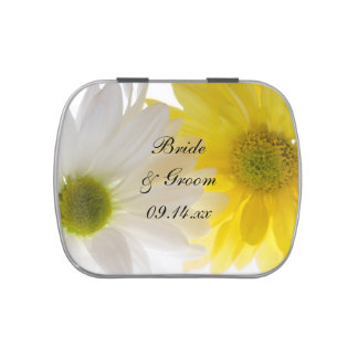Yellow and White Daisies Wedding Favor Jelly Belly Candy Tin