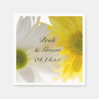 Yellow and White Daisies Wedding Paper Napkin