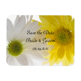 Yellow and White Daisies Wedding Save the Date Rectangular Photo Magnet