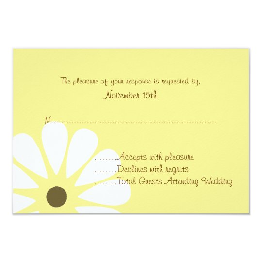 Yellow and White Daisy Wedding RSVP Cards