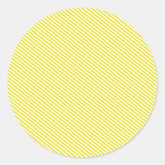 Yellow and White Diagonal Stripes Round Sticker