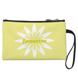 Yellow and white flower monogram clutch wristlet purse