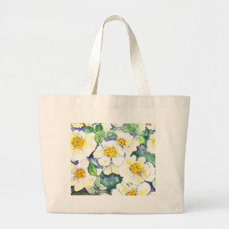 Yellow and White Flower Painting Canvas Bags