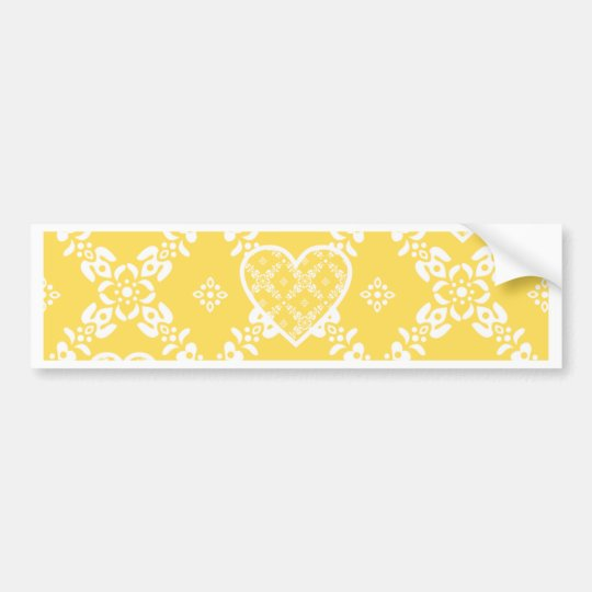 Yellow and white flowers and hearts customisable bumper sticker