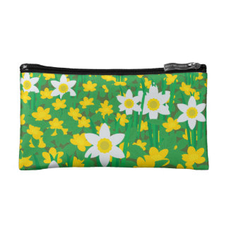 Yellow And White Flowers Small Cosmetic Bag