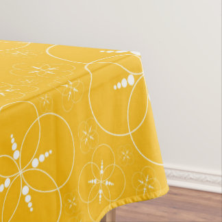 Yellow And White Geometric Patterned Tablecloth