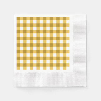 Yellow And White Gingham Check Pattern Disposable Serviette