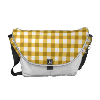 Yellow And White Gingham Check Pattern Commuter Bag
