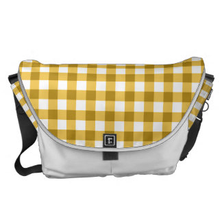 Yellow And White Gingham Check Pattern Messenger Bags
