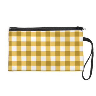 Yellow And White Gingham Check Pattern Wristlet Purses
