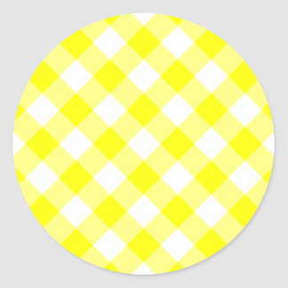 Yellow and White Gingham Classic Round Sticker