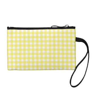 Yellow and White Gingham Design Coin Purses