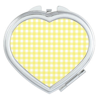 Yellow and White Gingham Design Compact Mirror