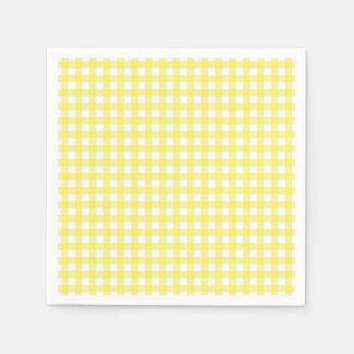 Yellow and White Gingham Design Disposable Napkin
