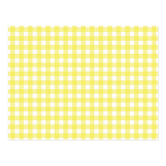Yellow and White Gingham Design Postcard