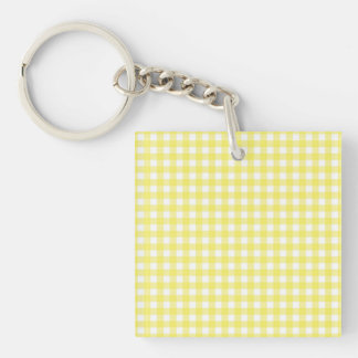 Yellow and White Gingham Design Single-Sided Square Acrylic Key Ring