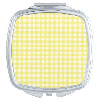 Yellow and White Gingham Design Vanity Mirror