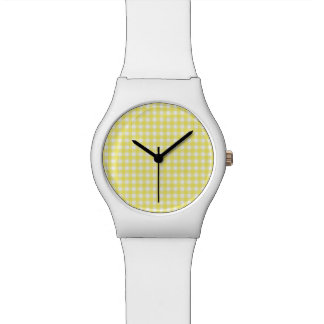 Yellow and White Gingham Design Wristwatches