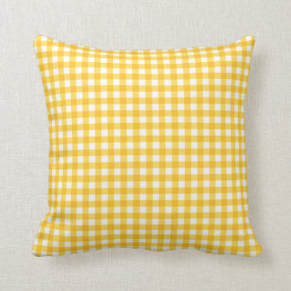 Yellow and White Gingham Pattern Cushion