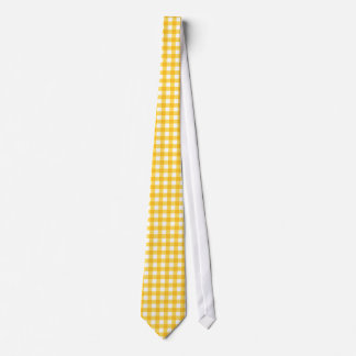 Yellow and White Gingham Pattern Tie
