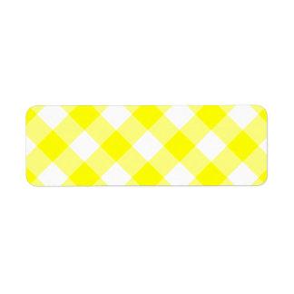 Yellow and White Gingham Return Address Label