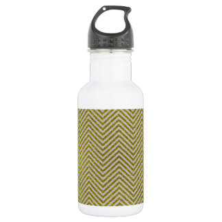 Yellow and White Glitter Zig Zag 532 Ml Water Bottle