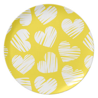 Yellow and white hearts Plate