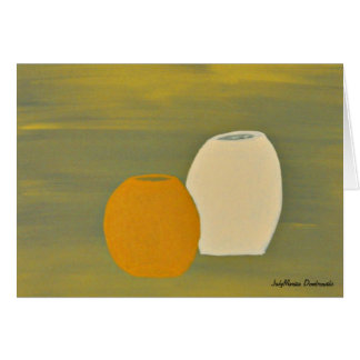 Yellow and White Jugs on Green Background Greeting Card