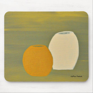 Yellow and White Jugs on Green Background Mouse Pads