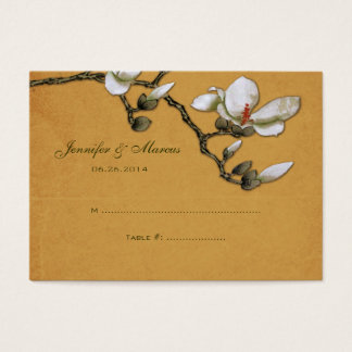 Yellow and White Magnolia Floral Seating Card