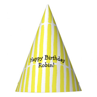 Yellow and White Modern Striped Birthday Party Hat