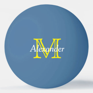 Yellow and White Monogram on Blue Ping Pong Ball